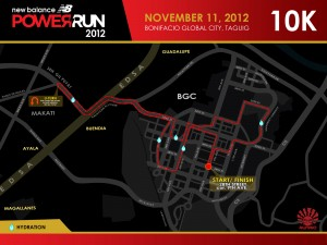 NB Power Run 2012 10K Race Route