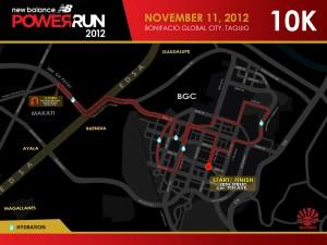 NB Power Run 2012 10K Race Route