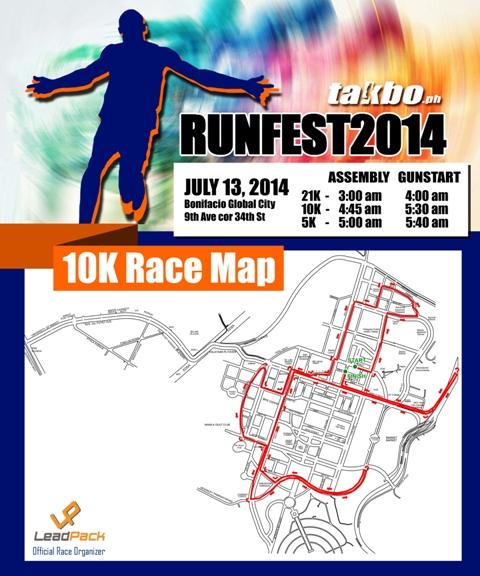 Runfest 2014 - 10k race map