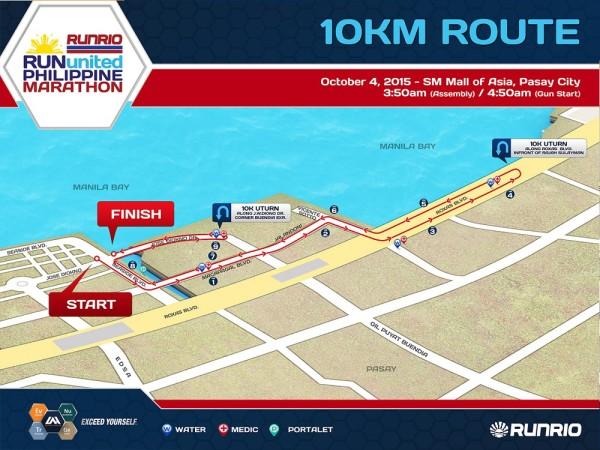 Run United Philippine Marathon 2015 10K Map