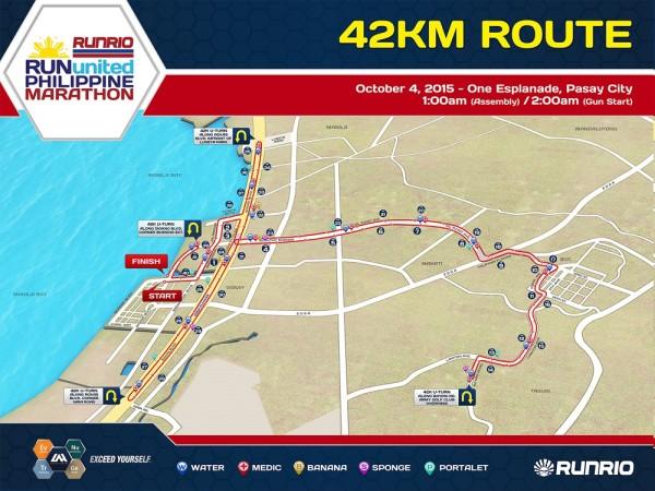 Run United Philippine Marathon 2015 42K Map