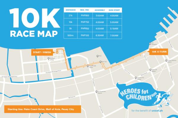Unicef Heroes for Children Run 10K Race Map