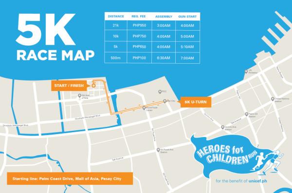 Unicef Heroes for Children Run 5K Race Map