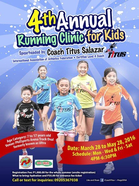 4th Annual Running Clinic for Kids 2016 Poster