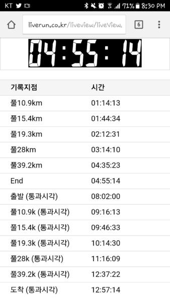 Gyeongju Cherry Blossom Marathon Finish Time