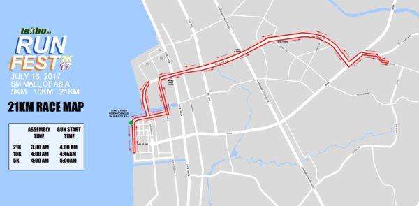 Takbo.ph RunFest 2017 21K Race Map