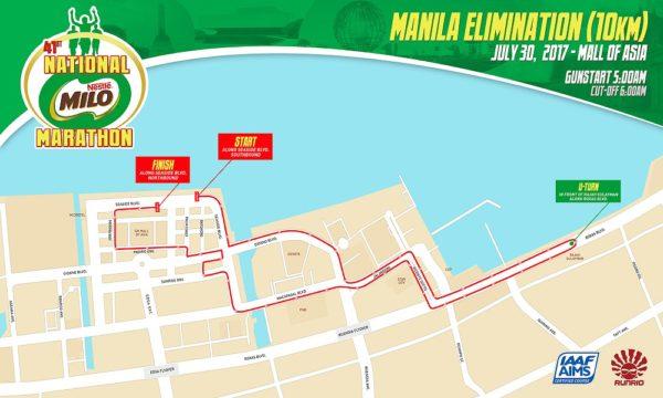 41st National Milo Marathon Manila Elimination 10K race map