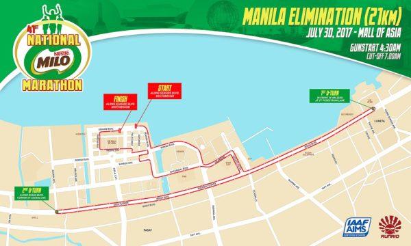 41st National Milo Marathon Manila Elimination 21K race map