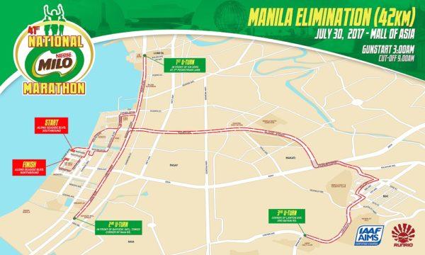 41st National Milo Marathon Manila Elimination 42K race map