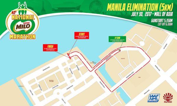41st National Milo Marathon Manila Elimination 5K race map