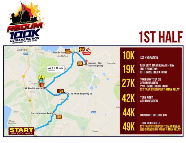 Andres Bonifacio Day 100K Ultra Marathon 2017 Race Route 1
