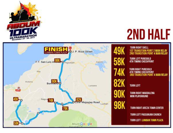 Andres Bonifacio Day 100K Ultra Marathon 2017 Race Route 2
