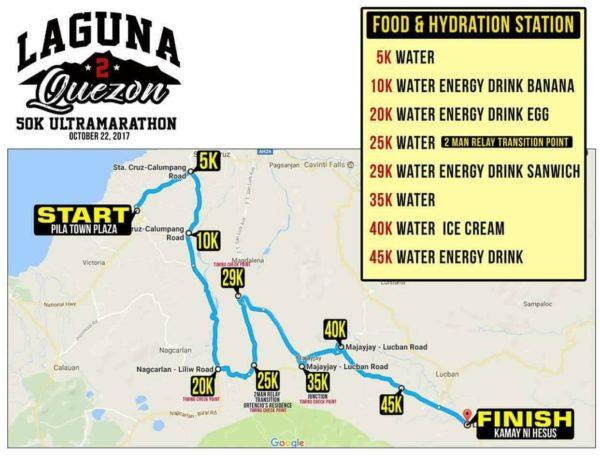 Laguna to Quezon 50K Ultra Marathon 2017 Race Route