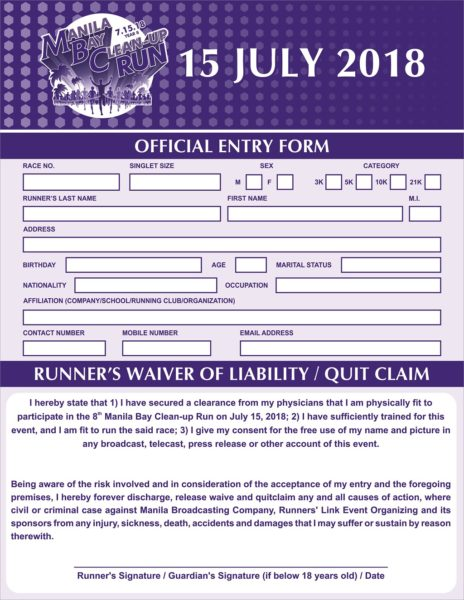 Manila Bay Clean Up Run 2018 Reg Form