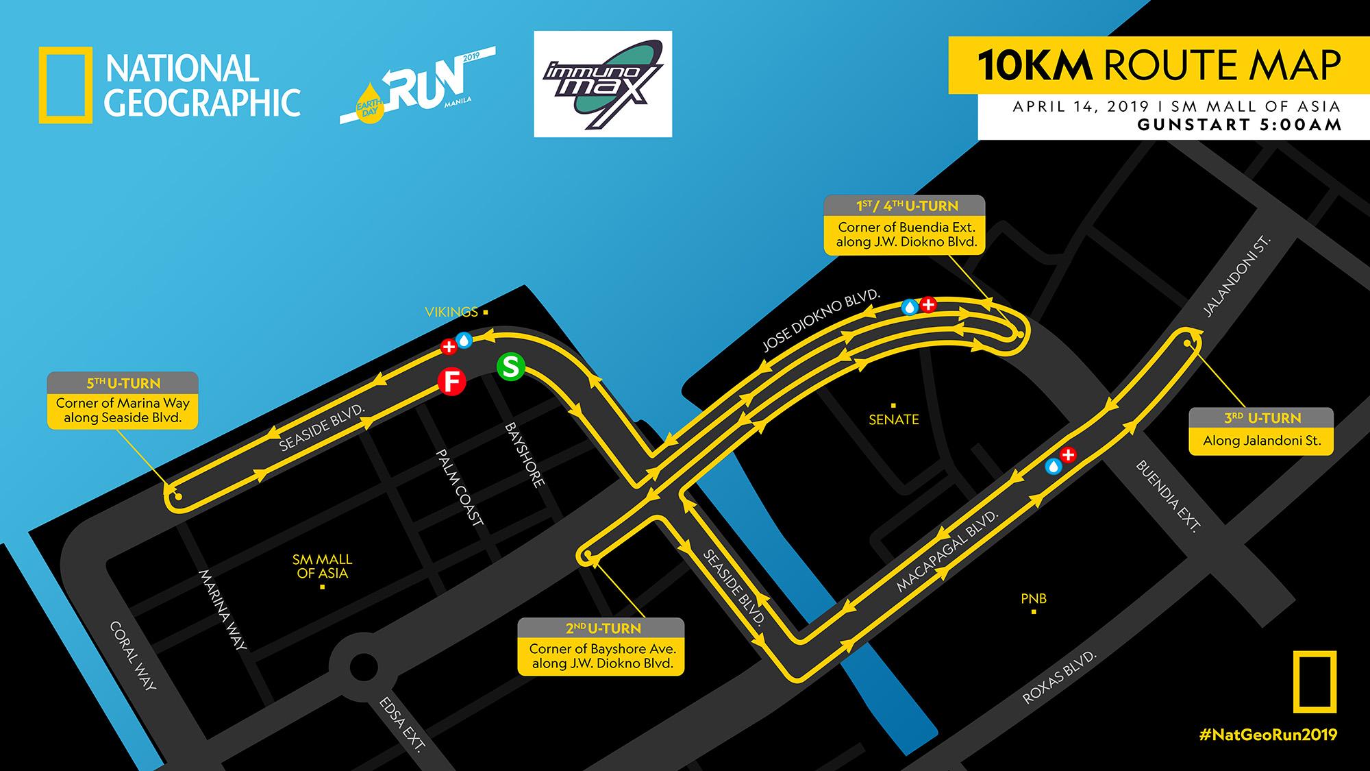NatGeo Earth Day Run 2019 10K Race Map