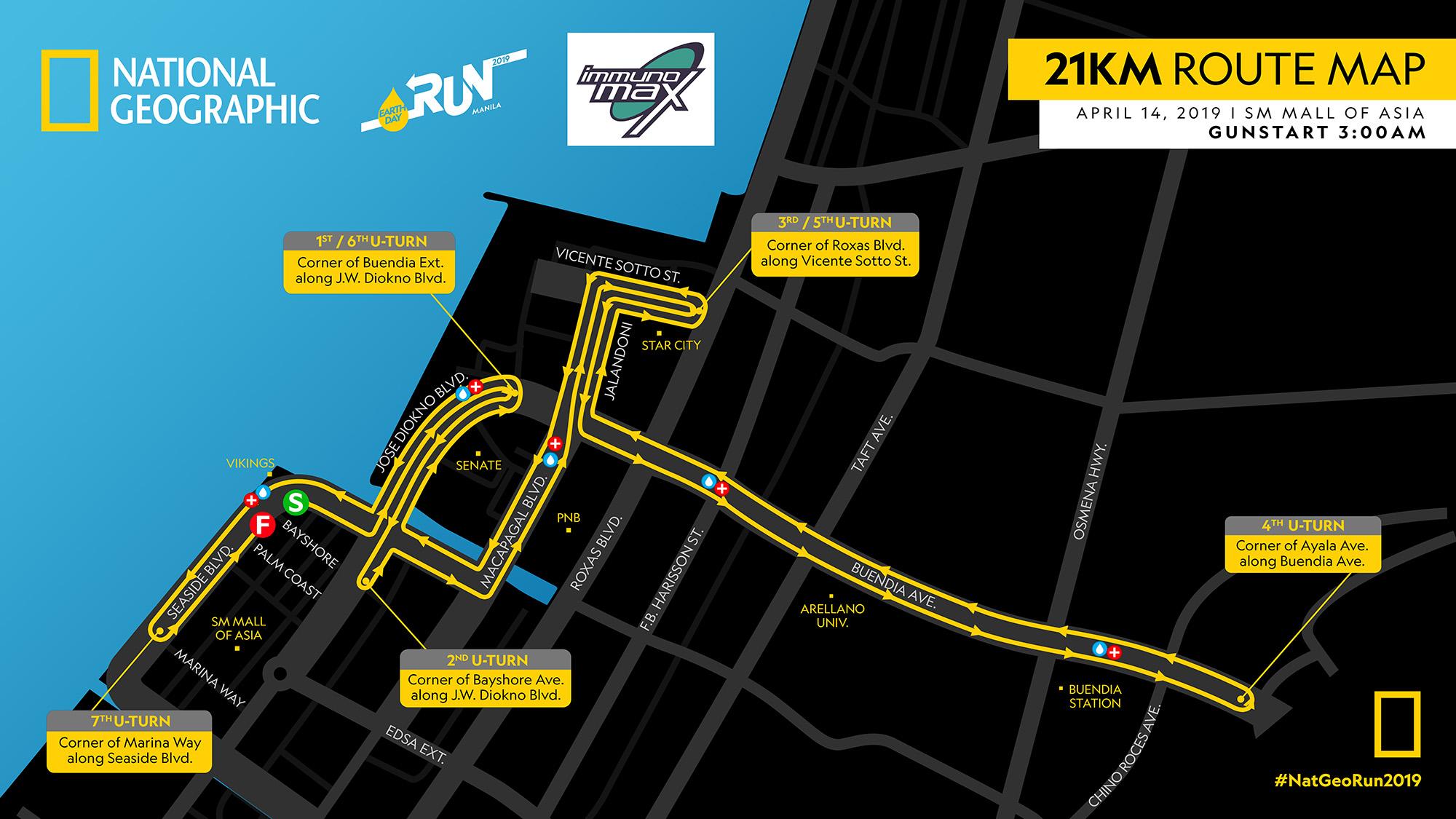 NatGeo Earth Day Run 2019 21K Race Map